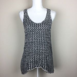 CAbi Chunky Knit Sweater Vest Marbled Heather Gray